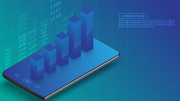 Смартфон с 3d бизнес-графом технологии иллюстрации концепции