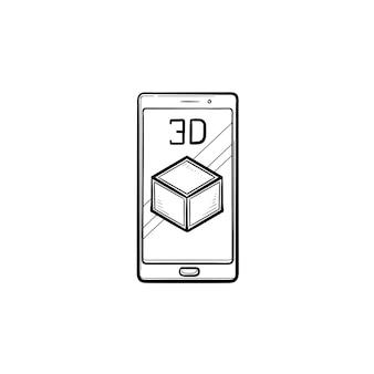 3d 큐브 손으로 그린 개요 낙서 아이콘이 있는 스마트폰. 증강 현실 및 휴대 전화 개념