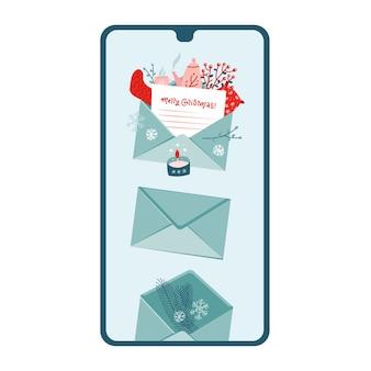 画面に新しいクリスマスのお祝いメッセージが表示されたスマートフォン。フラットイラスト。