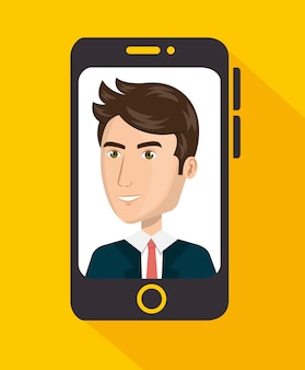 Smartphone with agent call center vector illustration design
