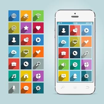 青で隔離のアプリアイコンとスマートフォン