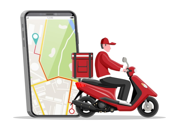 Smartphone with app and man riding motor scooter with the box