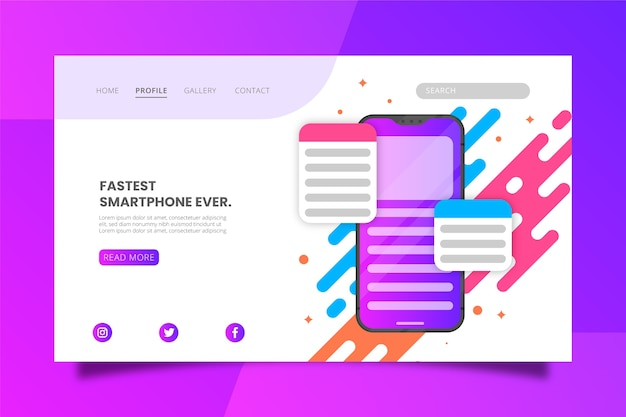 Smartphone with apps landing page template