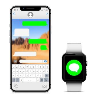아랍어 알파벳 키보드가있는 스마트 폰 및 화면에 새 메시지가있는 스마트 시계