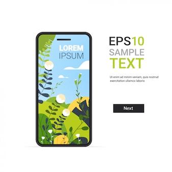 Смартфон с красивыми пейзажными обоями на экране, изолированными на белой стене