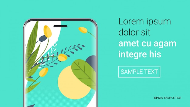 Smartphone with beautiful wallpaper on screen realistic mockup gadgets and devices concept copy space horizontal vector illustration