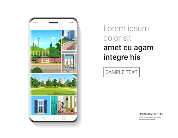 Smartphone with beautiful wallpapers on screen realistic mockup gadgets and devices concept