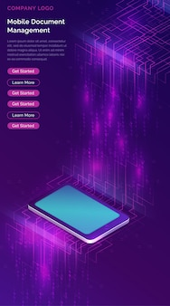 Smartphone with big data stream isometric banner