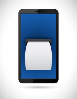 Smartphone with bill check business concept icon