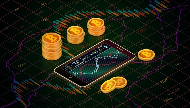 Smartphone with bitcoin cash chart, gold bitcoin cash coins isometric concept . business g