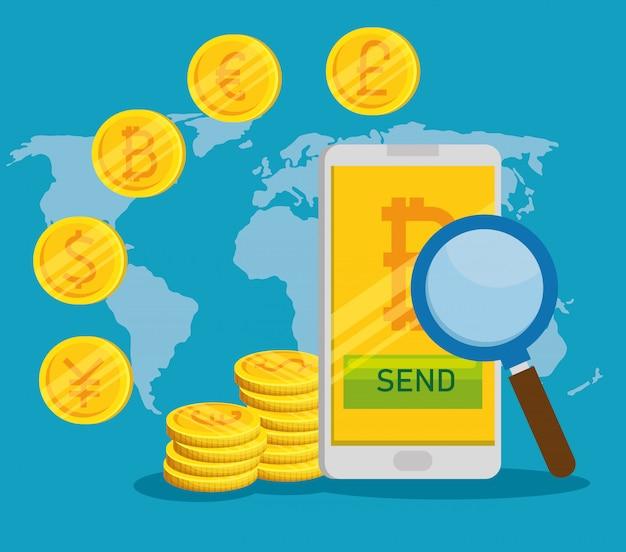 Smartphone con valuta digitale bitcoin e monete internazionali