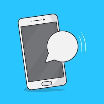 Смартфон с пустым пузырем сообщений