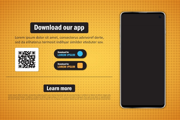 Smartphone with blank screen for download app with qr code