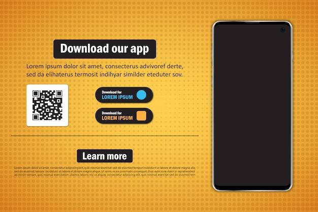 Смартфон с пустым экраном для загрузки приложения с qr-кодом