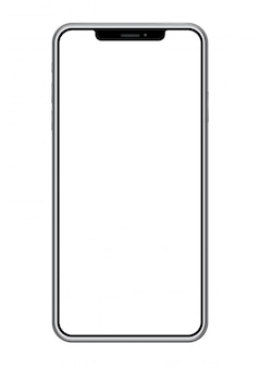Smartphone with a blank screen isolated on white background, vector illustration.