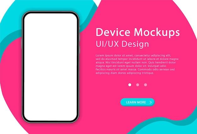 Смартфон с пустым экраном. телефон. современное устройство. ui и ux дизайн для веб-страницы. шаблон для инфографики или презентации.