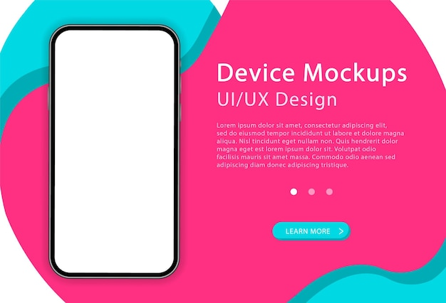 Smartphone with blank screen.  phone. modern device. ui and ux design for web page. template for infographics or presentation.