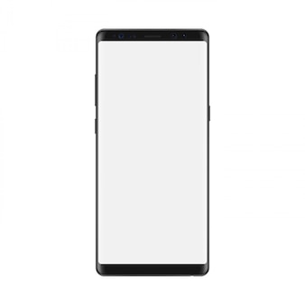 Smartphone with blank white screen. isolated