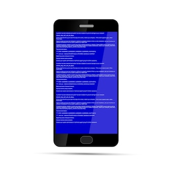 Smartphone with bsod error isolated on white. operation system crash.