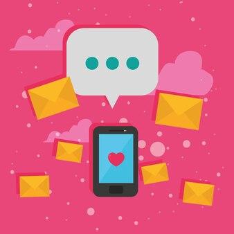 Смартфон с пузырем и конвертами