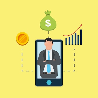 スマートフォン、スクリーンバンキング、金融、ビジネスマン