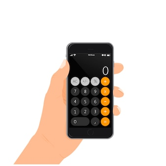 Smartphone with calculator in hand vector illustration