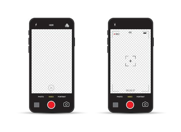 카메라 뷰 파인더의 카메라 인터페이스가있는 스마트 폰. 녹화.