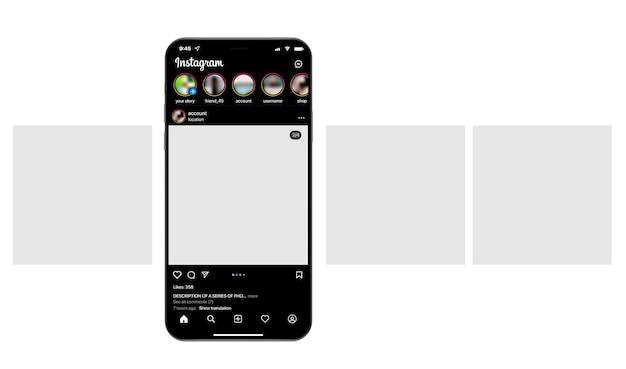 소셜 네트워크에 회전 목마 인터페이스 게시물이 있는 스마트폰.