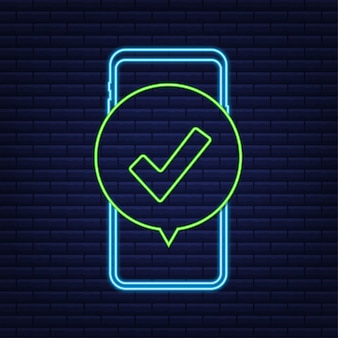 Smartphone with checkmark or tick notification in bubble approved choice