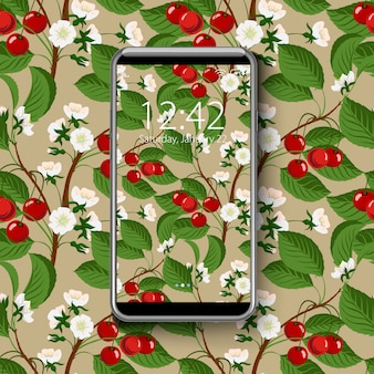 Smartphone with colorful wallpaper, of  seamless cherry blossom tree pattern