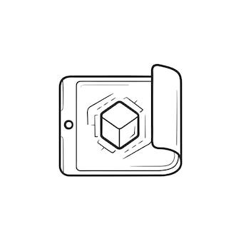 손으로 그린 개요 낙서 아이콘 안에 큐브가 있는 스마트폰. 프레임워크, 제품 디자인 및 프로젝트 계획 개념입니다. 인쇄, 웹, 모바일 및 흰색 배경에 인포 그래픽에 대한 벡터 스케치 그림.