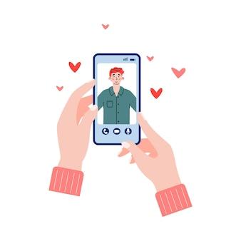 Смартфон с приложением чата знакомств на изолированной иллюстрации шаржа экрана