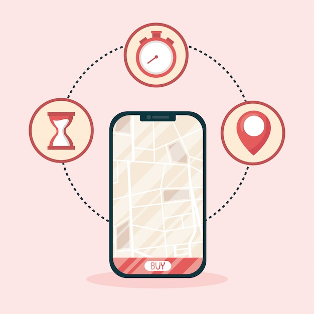 配送マップと購入ボタンのデザインを備えたスマートフォン