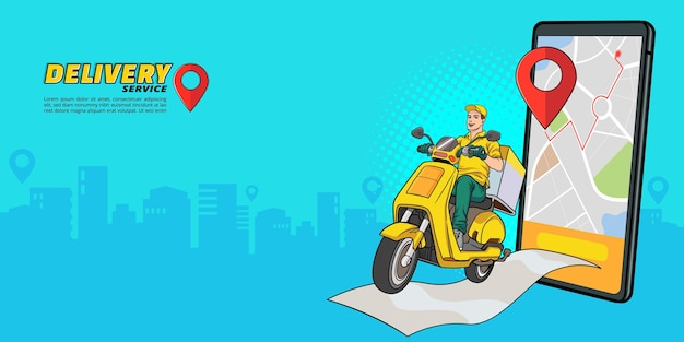 レトロなヴィンテージポップアートコミックスタイルの宅配便でスクーターによる配達サービス付きのスマートフォン