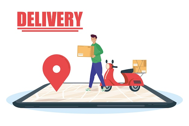 Smartphone with delivery worker and motorcycle  illustration design