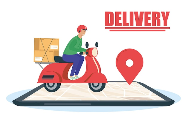 Smartphone with delivery worker in motorcycle and lettering  illustration design