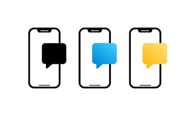 대화 창 일러스트와 함께 스마트 폰입니다. 메시지 창. 휴대폰 라이브 채팅.
