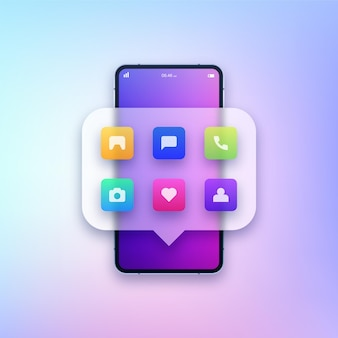 Smartphone with different apps illustration