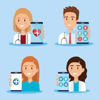 Смартфон с значками врача и телемедицины