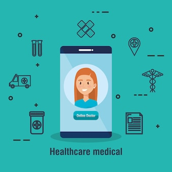 Smartphone with doctor and telemedicine icons
