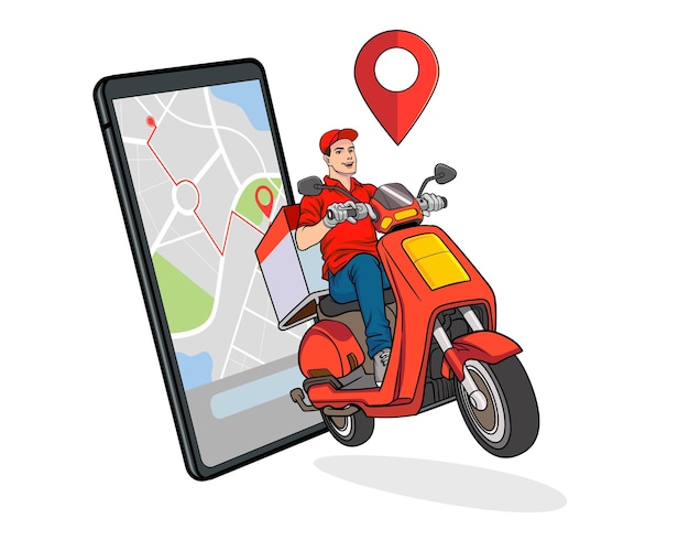 Smartphone with fast delivery service by scooter with courier pop art retro comic style