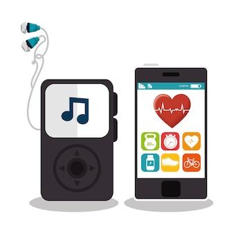Смартфон с фитнес-приложением