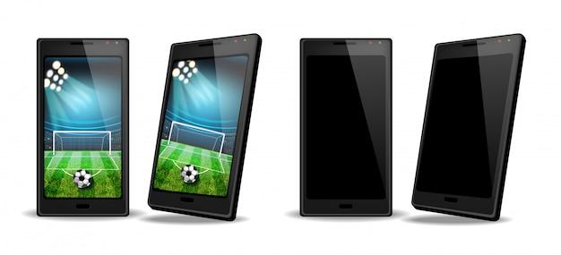 画面上のサッカースコアを持つスマートフォン
