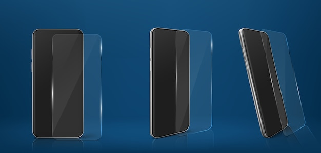 Smartphone with glass screen protector film set