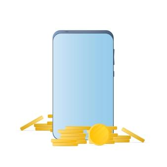 금화와 스마트폰입니다. 전화, 동전의 산. 캐쉬백 및 모바일 뱅킹의 개념입니다. 외딴. 벡터.