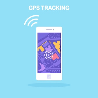 Smartphone with gps navigation app, tracking. mobile phone with map application