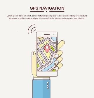 Смартфон с приложением gps-навигации, отслеживание. мобильный телефон с приложением карты