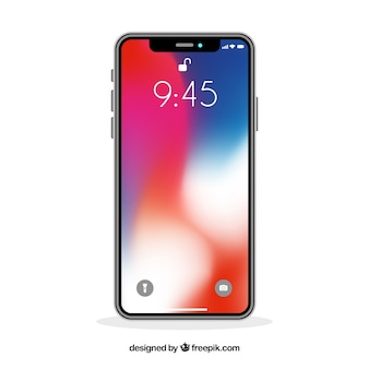 Smartphone with gradient wallpaper