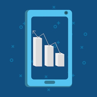 Smartphone with graphic chart on screen over blue background, colorful design. vector illustration