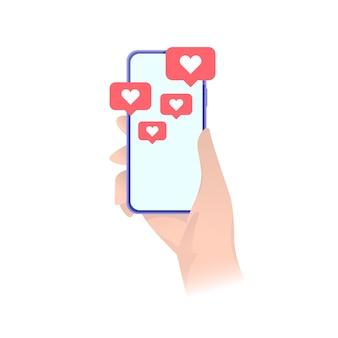 심장 emoji 연설 거품과 스마트 폰입니다. 소셜 미디어 현대. 소셜 네트워크 및 모바일 장치 개념. 스톡 .
